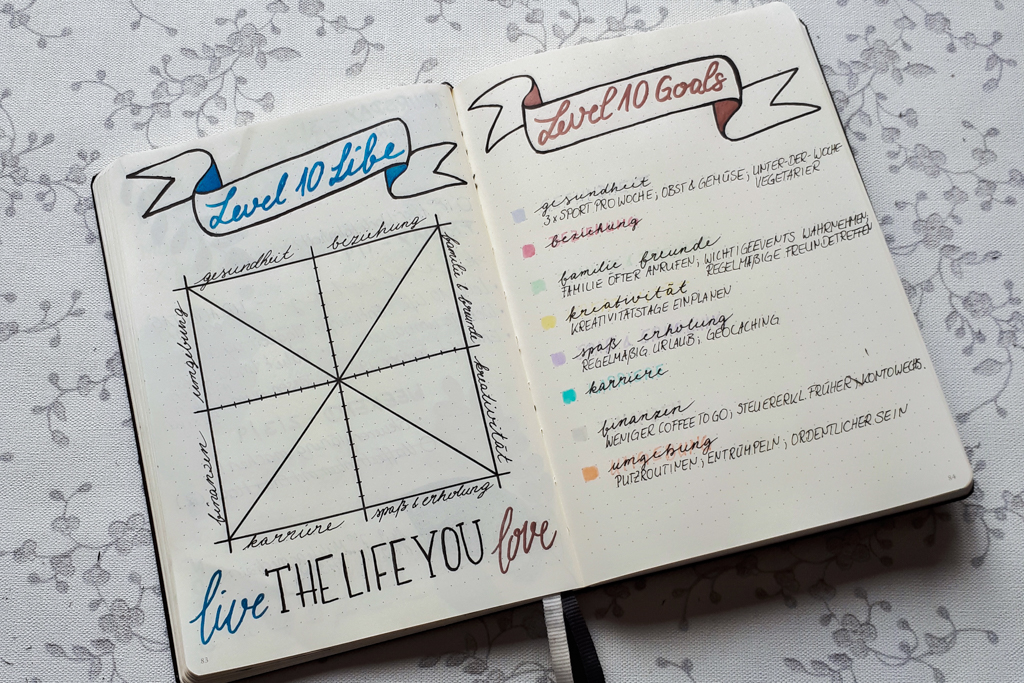 Bullet Journal Level 10 Life and Level 10 Goals